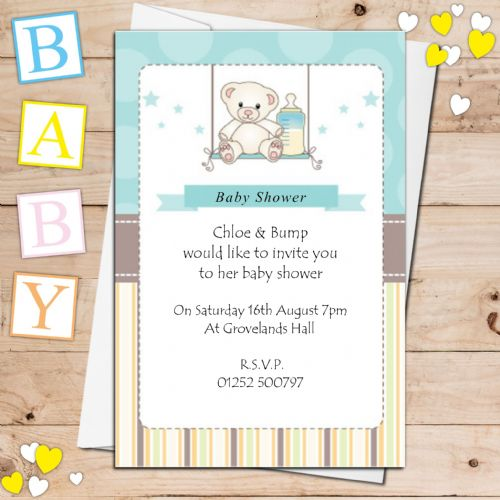 10 Personalised Boy Baby Shower Invitations N11